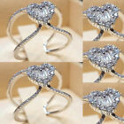 925 Silver Rings Women Bling Crystal Rhinestone Ring Engagement Jewelry Size L-t