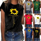 Sunflower Printed T Shirts Womens Casual Short Sleeve Tops Loose Blouse Tops gif