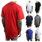 Men T-Shirt BIG AND TALL Long Extended Casual Tee Basic Crew Neck Hipster S-5XL image