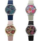 Woman Classic Floral Dial Vegan Leather Band Quartz Analog Fancy Dress Watch