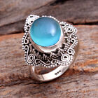 Aqua Chalcedony Gemstone 925 Sterling silver Unisex Jewelry Ring Size us 6
