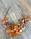 Anthrpologie Quartz Czech Crystal Agate Beaded Wired Floral Necklace