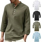 Mens Summer Linen Hippie Shirts Long Sleeve V Neck Casual T-Shirt Button Tops GI