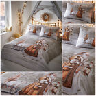 Christmas Bedding Traditional Twilight Santa Snow Scene Duvet Cover Set Gold