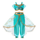 Child Aladdin Costume Princess Jasmine Outfit Girl Sequin Party Fancy Dress Cosp