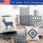 45x45cm Geometric Linen Throw Pillow Case Cushion Cover Home Sofa Bed Decor