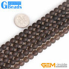 "Natural Smoky Quartz Frosted Matte Round Beads For Jewelry Making 15"" Strand GB"
