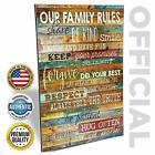 Marla Rae 12 by 18-Inch Country Wood Our Family Rules Wall Art Sign Decor,Brown