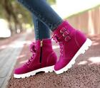Womens Girls Ankle Boots Warm Snow Shoes Faux Suede Lace Zip Casual GHVD