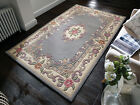 THICK CLASSIC TRADITIONAL AUBUSSON GREY HAND TUFTED 100% WOOL QUALITY RUG -