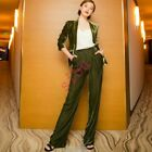 Womens Button Loose Suit Jacket Velvet Two Pieces Suits Pants Formal Blazers New