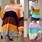 Women's Long-Sleeved Oversize Multicolor Striped Loose Knitted Jumper Sweatshirt