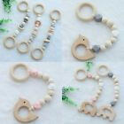 Beech Wooden Elephant Bird Baby Teething Silicone Beads Teether Play Gym Toys