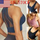 US HOT Women's Yoga Bra Top Fitness Mid Support Activewear Seamless Sports Tops