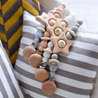Crochet Wooden Beads Soothers Holder Chain Silicone Beads Pacifier Clip Holder