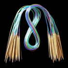 18Sizes Circular Bamboo Knitting Needles Set Colored Tube 2.0mm-10.0mm 40-120cm