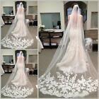 3 M White Ivory Cathedral Length Tulle Lace Edge Wedding Bridal Long Veil  Comb