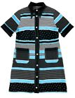 Péro-Pero BLUE STRIPED COTTON SHORT SLEEVE TUNIC SHIRT DRESS SIZE 44 - $715