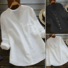 Внешний вид - Womens Cotton linen Tunic Tops Ladies Long Sleeve Button Down Shirt Blouse