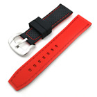 Well made black red line watch silicone rubber strap 20 22 24mm band accessory