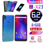 Android 8.1 Unlock Smartphone 4gb+64gb 8mp+16mp Dual Sim Cell Mobile Phone 6.2""