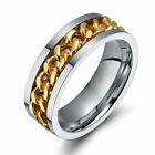 Punk Rock Men's Jewelry Spinner Chain Rings 8mm Stainless Steel Ring Band #6-12