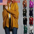 US Women's Loose Long Bat Sleeve Knitted Cardigan Sweater Tops Outwear Coat 03