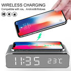 Electric LED Alarm Clock With Phone Wireless Charger Table Digital Thermometer a