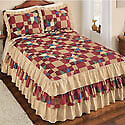 Cottage Patch Ruffled Bedspread, Vintage Heirloom Style, Fun Colorful Patterns image
