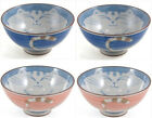 2x Japanese Smiling Cat Blue Pink Porcelain Rice Bowl Maneki Neko Design 4-1/2in