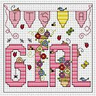 Fat Cat Cross stitch card kit - It's a Girl