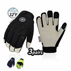 Vgo 1Pair/3Pairs 3M Thinsulate Leather Waterproof Winter Work Gloves(PA1016FW)