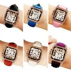 US Retro Leather Strap Square Dial Rhinestone Women's Watch Business watches image