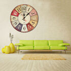 DIY Vintage Rustic Wooden Wall Clock Antique Shabby Retro Home Kitchen Decor USA