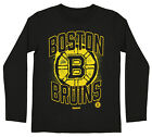 Reebok NHL Boys Youth Boston Bruins Washed Away Long Sleeve Cotton Shirt, Black $9.99 USD on eBay