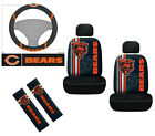 7pc NFL Chicago Bears Car Seat Covers Steering Wheel Cover Seat Belt Pads