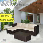 3 Pcs Lounge Outdoor Furniture William Sofa Set Patio,garden,outdoor Brown Black