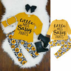 Newborn Infant Kids Baby Girl Sassy Tops T-Shirt Long Pants Outfits Clothes US