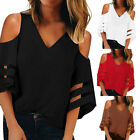 Fashion Women Button V Neck Mesh Panel Blouse 3/4 Bell Sleeve Loose Top Shirt