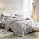Soft Velvet Sherpa Faux Fur Champagne Pink King Queen Twin Reversible Comforter image
