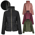Han Ton Women's Waist Length Concealed Hood Lined Quilted Puffer Jacket Coat