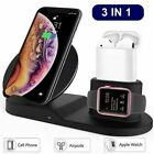 3in1 Qi Wireless Fast Charger Dock Stand For Apple Watch Airpods iPhone X Xs