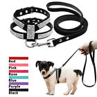 Rhinestones Dog Harness&Leads Soft Leather Padded for Pets Puppy Pink Black Red