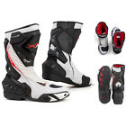 Boots Motorcycle Sport Racing Track Road Technical Microfiber White