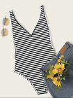 Summer V-Neck Casual Women Striped Fitted Armhole Tank Bodysuit Top Sleeveless