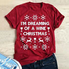 UK Womens Christmas T-Shirt Xmas Costume Short Sleeve Party Fancy Tee Top Blouse