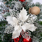 10X Christmas Large Poinsettia Glitter Flower Tree Hanging Party Xmas Decor UK