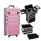 4in1 Aluminum Rolling Makeup Trolley Train Beauty Case Box Organizer Cosmetic US