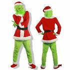 The Grinch Costume Halloween Cosplay Adult Christmas Santa Fancy Dress Outfit