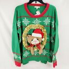 Women's Plus Size Ugly Christmas Sweater 3D Kitty Cat Tinsel Santa Hat 1X